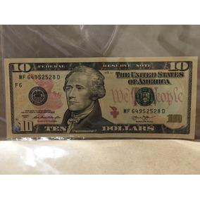 Cedula Nota Dez (10) Dólares Americanos Dollar Coleção