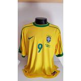 Camisa Brasil Home 98-99 Ronaldo 9 Patch Copa 1998 Importada ad3df4ea44f85