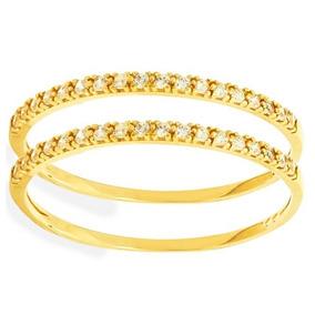 a4aec8d46b0 2025 Meia Aliança 2 Carreiras De Ouro 18k Com 18 Diamantes - Joias e ...