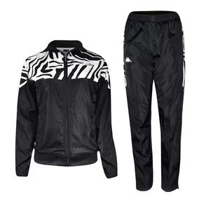 Pants Deportivo Pantalon Chamarra Dama Negro/blanco Kappa