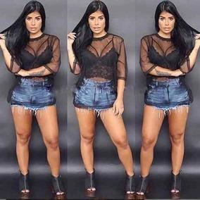 Conjunto Blusa Blusinha Tule Transparente Com Cropped Top