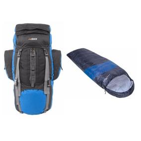 Mochila 80 Litros Camping E Preta Com Azul Saco Dormir