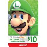 Tarjeta Prepago Nintendo Eshop $10 Switch / Wii U / 3ds