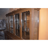 Trinchador Comedor Madera Antiguo Vidrio Bufetera Mueble