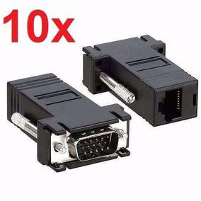 Lote 10x Adaptador Vga X Rj45 Cabo De Rede Conversor Monitor