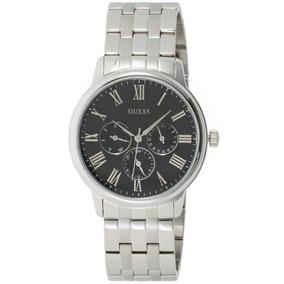 Relógio Guess Steel Prata Com Fundo Preto Masculino U10057g2