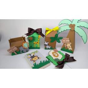Festa Infantil Safari Em Camadas Caixas Personalizas 60 Und