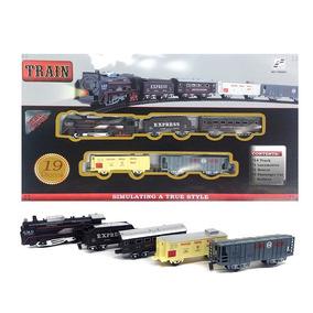 Juguete Tren A Pila 19 Piezas Locomotora 4 Vagones 14 Tramos