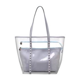 Bolsa Shopper Bag Feminina Transparente Com Tachas Birô