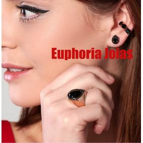 Conjunto Brinco Anel Piercing Rommanel Com Zirconias 526176