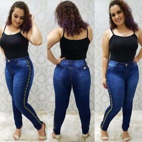 Calça Plus Size Jeans Roupas Femininas Azul Tamanhos Grandes