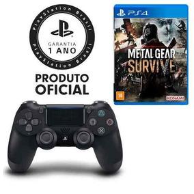 Controle Dualshock 4 Preto + Jogo Metal Gear Survive - Ps4