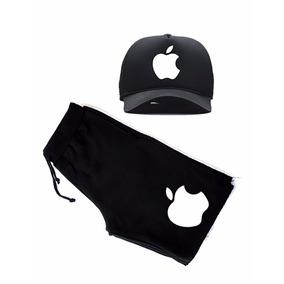 Kit Bermuda Moletom Short Aple Iphone Celular Camisa