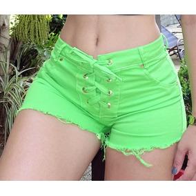 Short Jeans Verde Neon Com Lycra