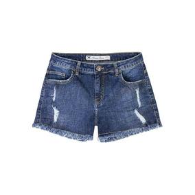 Shorts Jeans Feminino Em Algodão Barra Desfiada Hering Kzmk