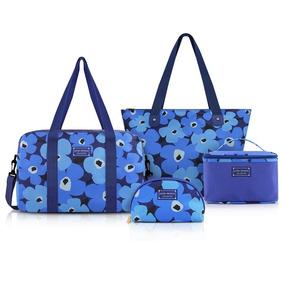 Conjunto De Bolsa Azul 4 Peças Jacki Design