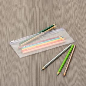 3c8569db3c6a6 10 Estojo Plastico Zip Zap - Transparente Com Ziper Branco. R  24 90