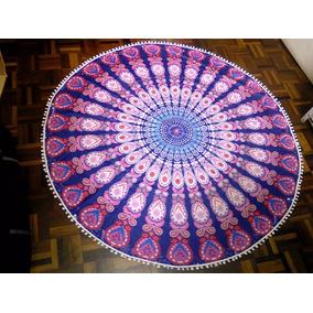 Canga Redonda Poliéster Com Franja Mandala Yoga Decoração G