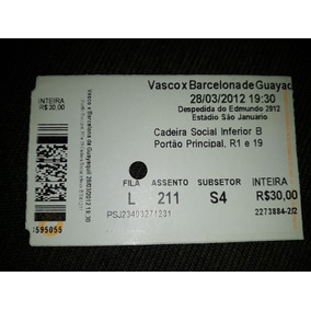 Ingressos Despedida De Edmundo Vasco X Barcelona