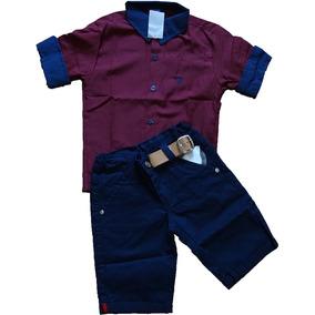 Camisa Infantil Social 3/4 Masculina Com Shorts Com Elastano