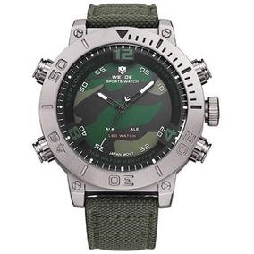 9a5b0470718 Relógio Masculino Weide Anadigi Wh-6103 Verde E Camuflado