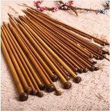 Set Agujas Palillos Tejer De Bambu Carbonizado 18 Pares.