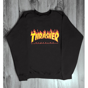 Sudadera Thrasher Flamas Skate Sin Gorro Varios Colores