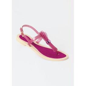Sandália Rasteirinha Rosa Pink Aspecto De Glitter