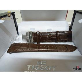Pulseira De Couro Tissot T035617a 23mm Marrom Preto Original