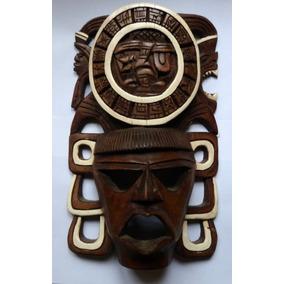 Antigua Mascara Azteca De Madera Tallada A Mano