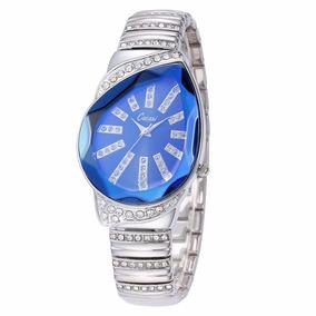 Reloj Lujo Metal Acero Plateado Cristal Gema Gota Azul Dama