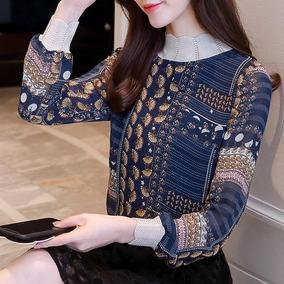 Blusa Elegante Impresa Tela De Gasa Y Detalles Tipo Suéter