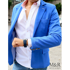 Blazer Slim Fit Azul Rey De Lino