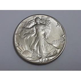 Moeda Half Dollar 1945d Walking Liberty, Prata Nao Circulada