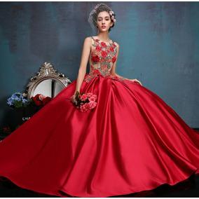 Vestido Con Corset Color Beige Con Falda Roja