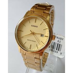 60239576dc4 Relogio Masculino Dourado Casio Original Ref-mtp-v002g-9audf