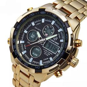 5e2a8fb102f Relógios Masculinos Dourado Luxo Inox Original Gh-108