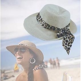 Chapéu De Palha Praia Moda Oncinha Aba Média Feminino Lindo 6a90e2c4244