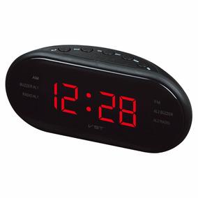 Radio Relógio De Cabeceira Cama Fm Despertador Tomada Vst