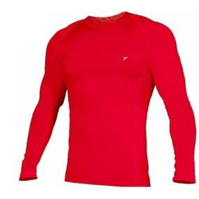 Camisa De Compressão Termica Poker Skin Manga Longa Vermelha 2ea4a6ff807ba