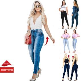 Calça Jeans Feminina Levanta Bumbum Cintura Alta Lycra Dins