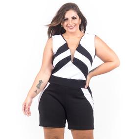 Macacão Feminino Plus Size Macaquinho Gg Ao G4