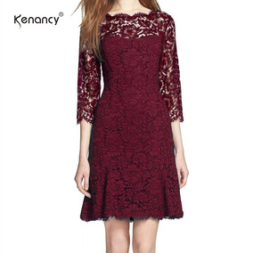 Kenancy De Las Mujeres Elegante Completo Floral Encaje Fit Y