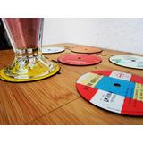 7 Porta Vasos Posa Vasos Disco Real Vinilo Vinil Acetato Lp