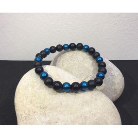 Pulsera Hombre Piedra Natural Hematita Ónix Negro Y Azul