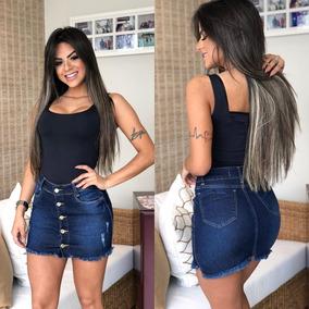 Saia Jeans Color C/lycra Roupas Femininas Lindo Verão 34/44