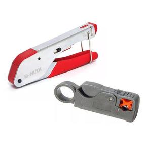 Kit Alicate Crimpar Compressão E Decapador Rg59 Rg6 Coaxial