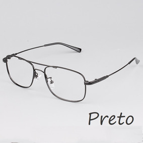9d850c3b8c07f Oculos De Grau Dourado Titanio - Óculos Preto no Mercado Livre Brasil