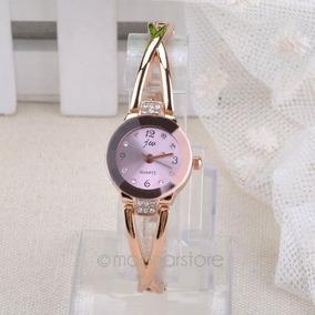 Relógio Feminino Dourado Strass De Pulso Bracelete Lindo