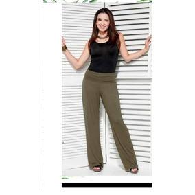Pantalón Verde Pierna Amplia Cintura Alta Moda Club Ma